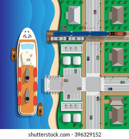 Ferry. View from above. Vector illustration. Applique with realistic shadows.