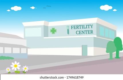 Fertility clinic, IVF hospital building vector illustration