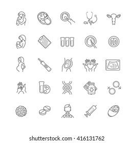 fertilization, pregnancy and motherhood vector icon set. Gynecology, childbirth healthcare thin line symbols for web design, layout, etc.