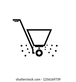 Fertilizer spreader outline icon. Clipart image isolated on white background