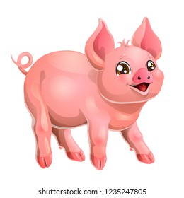 The fervent playful pink pig rejoices standing on four legs. A cartoon vector illustration isolated on white.