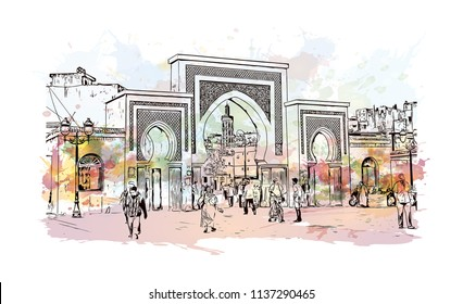 Fes el Bali is the oldest walled part of Fez, Morocco. Watercolor splash with Hand drawn sketch illustration in vector.