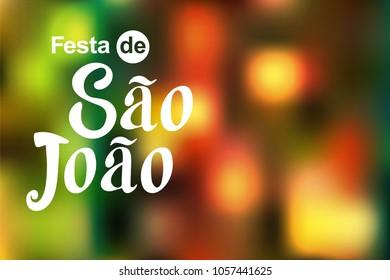 Festa de Sao Joao colorful label summer holiday calligraphic poster, background vector  illustration.