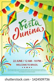 Festa Junina A4 colorful poster design. Lettering text June party in Brazilian. Brazil tradition harvest festival. Vector colorful template with festival fire, paper lantern and garland.