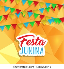 Festa Junina background with banners on a low poly design