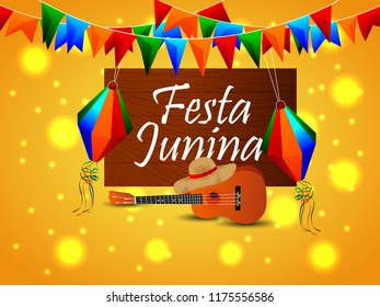 Festa junina background design with creative shiny element..