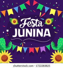 Festa Junina Background with lot flags