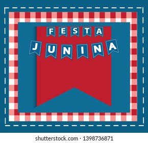 Festa Junina background vector. Bunting banners and copy space for text.