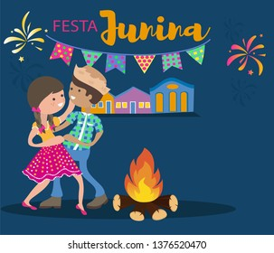Festa Junina background vector with copyspace. Cute couple dancing. Colorful cartoon style.