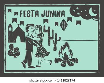 Festa Junina background vector. Cute couple dancing.Traditional Brazilian woodcut style illustration with copy space.