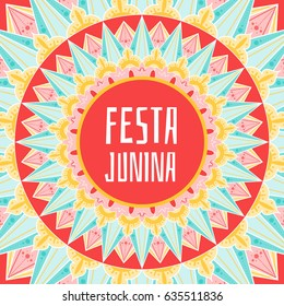Festa Junina background vector. Festival banner for Brazilian holiday party. Festive latin ornaments concept.