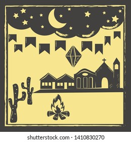Festa Junina background vector. Traditional woodcut style illustration.