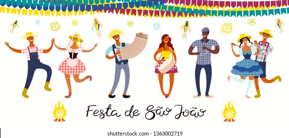 Festa Junina banner with dancing people, musicians, lanterns, Portuguese text Festa de Sao Joao. Isolated objects. Hand drawn vector illustration. Flat style design. Concept for holiday poster, flyer.
