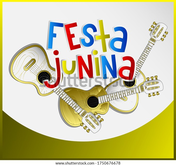 Festa Junina Banner Design with guitar illustration, Vector Illustration