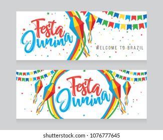 Festa Junina Banner Design Set Vector Illustration