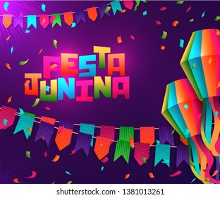 Festa Junina Brazil holiday design with traditional decorations and place for your text
