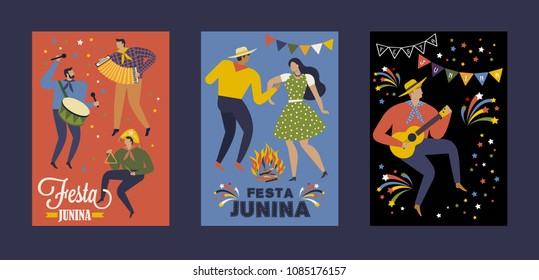 Festa Junina Brazil June Festival. Vector templates. Design element for card, poster, banner, and other use.