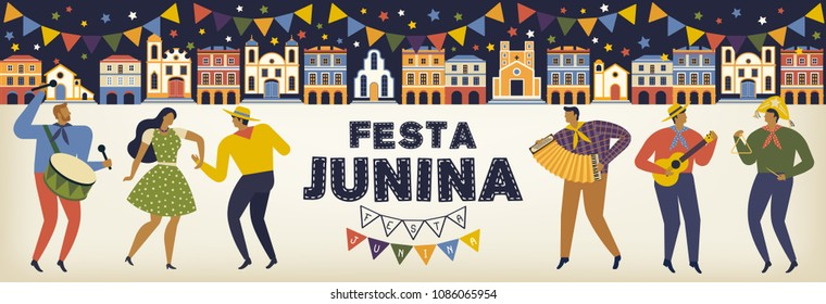 Festa Junina Brazil June Festival. Vector templates. Design element for card, banner and other use.