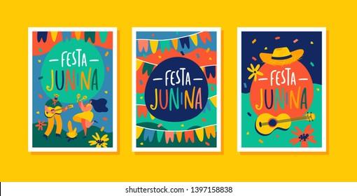 Festa Junina Brazil June Festival. Brazil June festival design templates for greeting card, invitation or holiday poster.