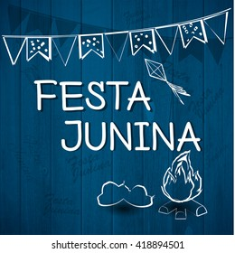 Festa Junina Brazil Topic Festival. Folklore holiday. Festival fire attributes, flags on a color background.