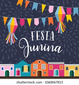 Festa junina, Brazilian june party holiday. Vector illustration background with garland of flags, lanterns, colorful houses and fireworks. Flat design.