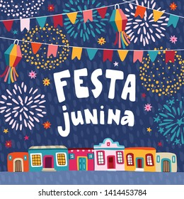 Festa junina, Brazilian june party greeting card, invitation.. Latin American holiday.Garland of bunting flags, lanterns, colorful houses and fireworks. Vector illustrations, flat design, textured bac