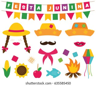 Festa Junina (Brazilian June party) vector banners and photo booth props