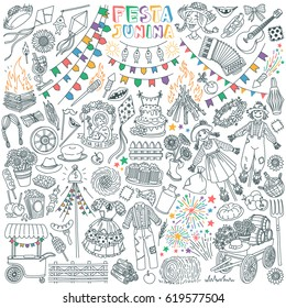 Festa Junina (Brazilian Midsummer Festival) party decoration. Hand drawn vector doodles set isolated on white background.