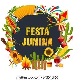 Festa junina cartoon background with decorative frame consisting of traditional celebration symbols flat vector illustration