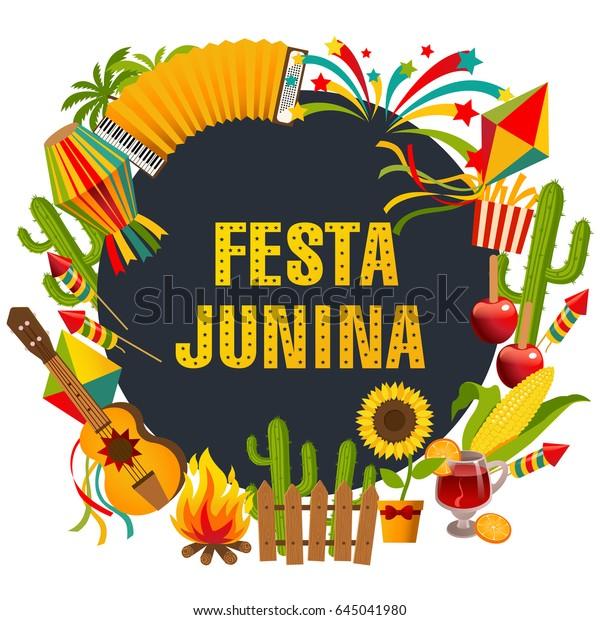 Festa Junina Cartoon Hintergrund Mit Dekorativem Rahmen