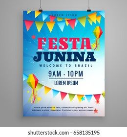 festa junina celebration poster flyer design with garlands decoration