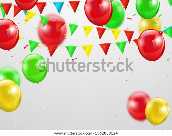 Festa junina colorful balloons, vector illustration Confetti and ribbons, Celebration background template with.