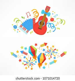 Festa Junina compositions with guitar, serpentine, notes, flower, petard, lantern, firework and stars. Perfect for greeting cards, placard, holiday decoration