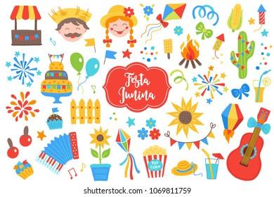 Festa Junina design elements. Firework, balloon, cake, flag, cupcake, couple, star, cactus, corn, sunflower, guitar, music, cocktail, lantern, petard, bow, accordion, cart, kite on white background