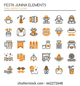 Festa Junina Elements , Thin Line and Pixel Perfect Icons