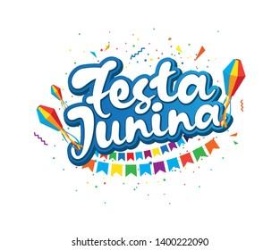 Festa Junina Festival Background Template Design - Brazilian Festival Festa Junina Text Typography Design Template