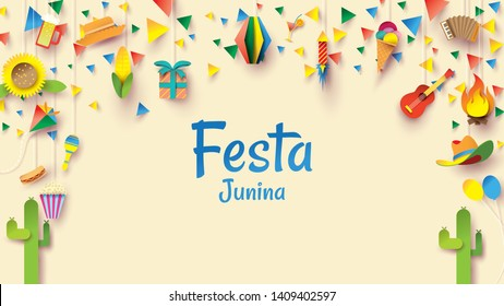 Festa Junina festival design on paper art and flat style with Party Flags and Paper Lantern, Can use for Greeting Card, Invitation or Holiday Poster. - Vector