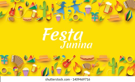 Festa Junina festival design on paper art and flat style with Party Flags and Paper Lantern. - Vector