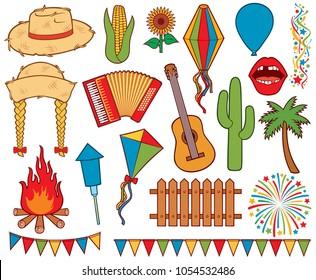 Festa Junina Festival icons set (balloon, straw hat, guitar, cactus, sunflower, corn, fence, kite, campfire, firework rockets, palm, party flags, lantern)
