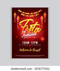 Festa Junina Festival Poster Design Layout Template Vector Illustration