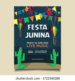 Festa Junina Flyer Template with various decoration
