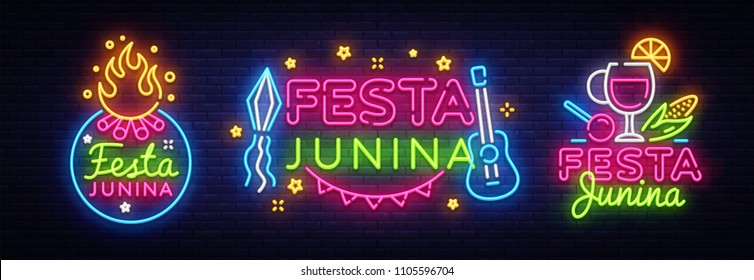 Festa Junina greeting card collection design template neon vector. Modern trend design, neon sign, light banner. Vector Brazilian June Festival for greeting card, invitation or festive poster. Vector
