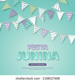 Festa Junina holiday design. Paper cut style letters with bunting flag on light turquoise background. Template for Brazilian or Latin festival, party, vector illustration.