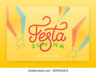 Festa Junina. Holiday layout design for Brazilian June festa de Sao Joao. Festive lettering and sky lanterns