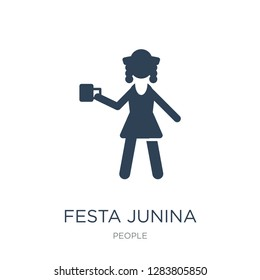 festa junina icon vector on white background, festa junina trendy filled icons from People collection, festa junina vector illustration