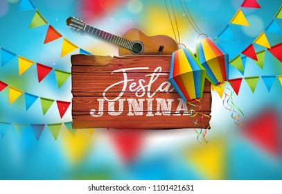 Festa Junina Illustration with Acoustic Guitar, Party Flags and Paper Lantern on Blue Background. Typography on Vintage Wood Table. Vector Brazil June Festival Design for Greeting Card, Invitation or