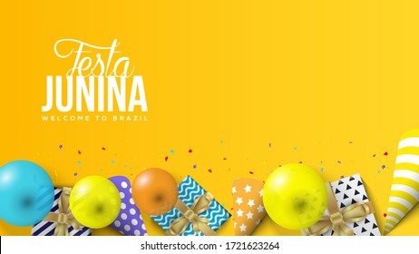 Festa Junina Illustration with balloons, gift boxes and 3D birthday hats.
