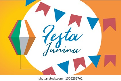 Festa Junina Illustration, Brazil june party with Party Flags and Paper Lantern on Yellow Background. Vector Brazil June Festival Design Typography Letterfor Greeting Card, Invitation or Holiday
