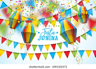Festa Junina Illustration with Party Flags and Paper Lantern on White Background. Vector Brazil June Festival Design for Greeting Card, Invitation or Holiday Poster.