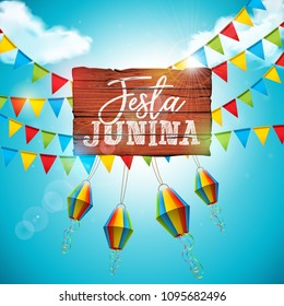 Festa Junina Illustration with Party Flags and Paper Lantern on Blue Cloudy Sky Background. Vector Brazil June Festival Design for Greeting Card, Invitation or Holiday Poster.